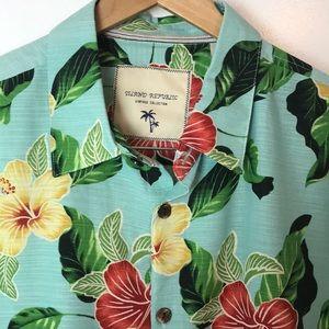 Island Republic Aqua Blue Silk Hawaiian Shirt XXL